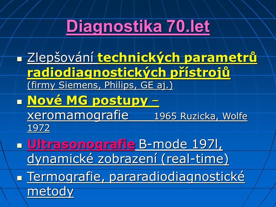 Diagnostika 70.let Zlepšování technických parametrů radiodiagnostických přístrojů (firmy Siemens, Philips, GE aj.) Zlepšování technických parametrů radiodiagnostických přístrojů (firmy Siemens, Philips, GE aj.) Nové MG postupy – xeromamografie 1965 Ruzicka, Wolfe 1972 Nové MG postupy – xeromamografie 1965 Ruzicka, Wolfe 1972 Ultrasonografie B-mode 197l, dynamické zobrazení (real-time) Ultrasonografie B-mode 197l, dynamické zobrazení (real-time) Termografie, pararadiodiagnostické metody Termografie, pararadiodiagnostické metody