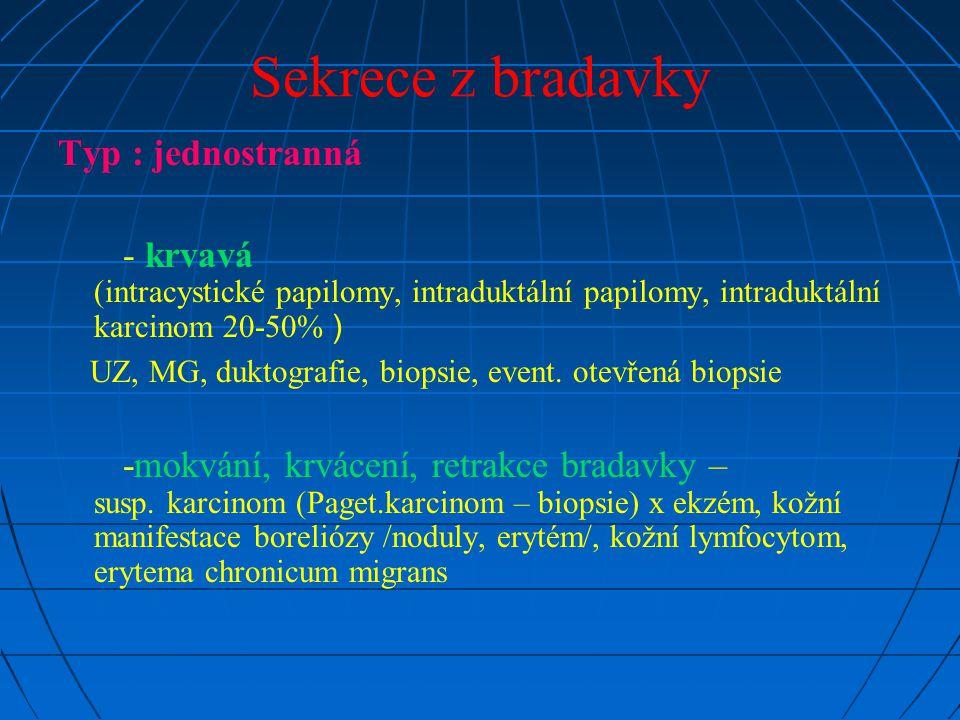 Sekrece z bradavky Typ : jednostranná - krvavá (intracystické papilomy, intraduktální papilomy, intraduktální karcinom 20-50% ) UZ, MG, duktografie, biopsie, event.