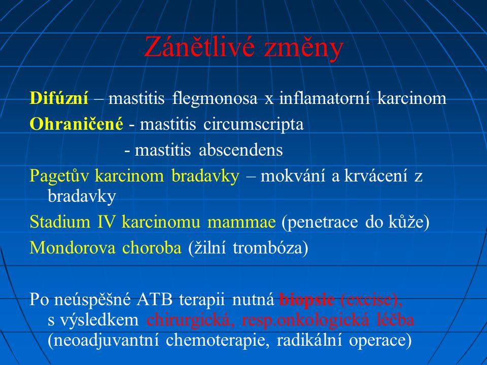 Zánětlivé změny Difúzní – mastitis flegmonosa x inflamatorní karcinom Ohraničené - mastitis circumscripta - mastitis abscendens Pagetův karcinom brada