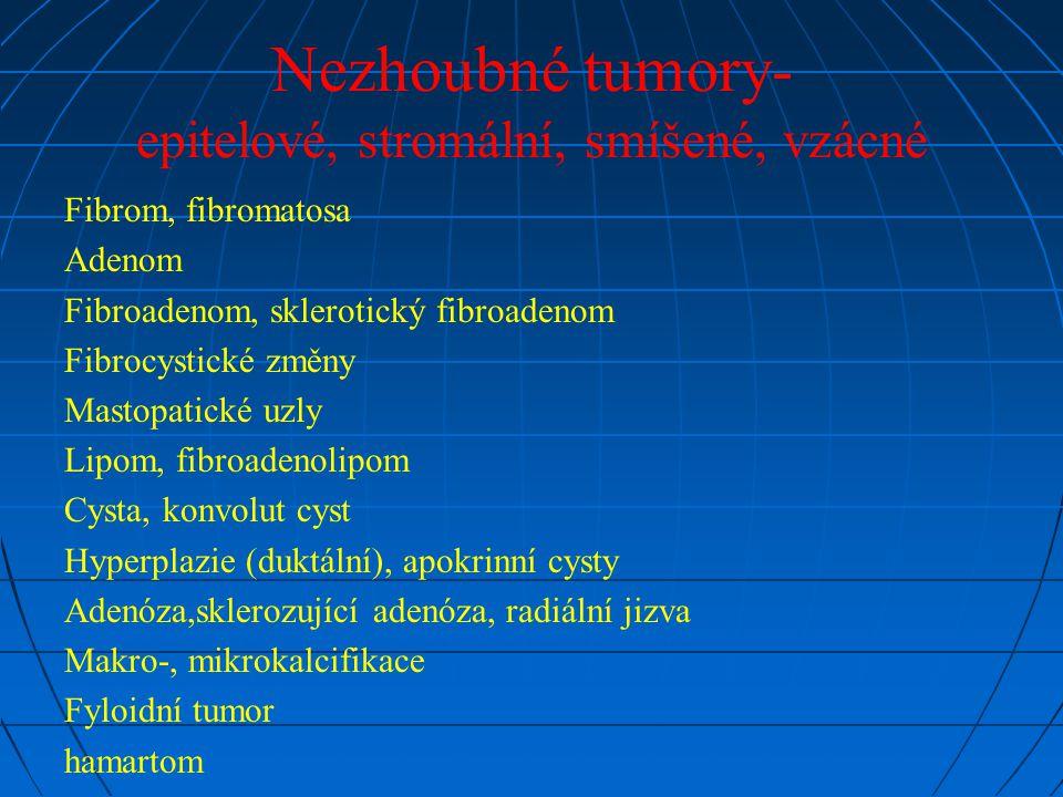 Nezhoubné tumory- epitelové, stromální, smíšené, vzácné Fibrom, fibromatosa Adenom Fibroadenom, sklerotický fibroadenom Fibrocystické změny Mastopatic