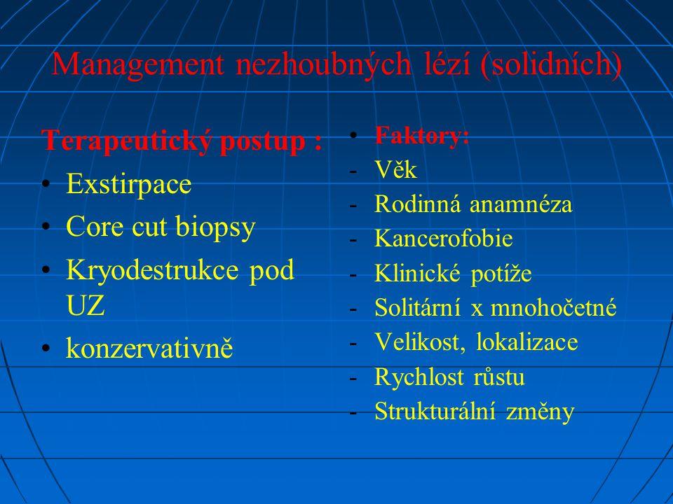 Management nezhoubných lézí (solidních) Terapeutický postup : Exstirpace Core cut biopsy Kryodestrukce pod UZ konzervativně Faktory: -Věk -Rodinná ana