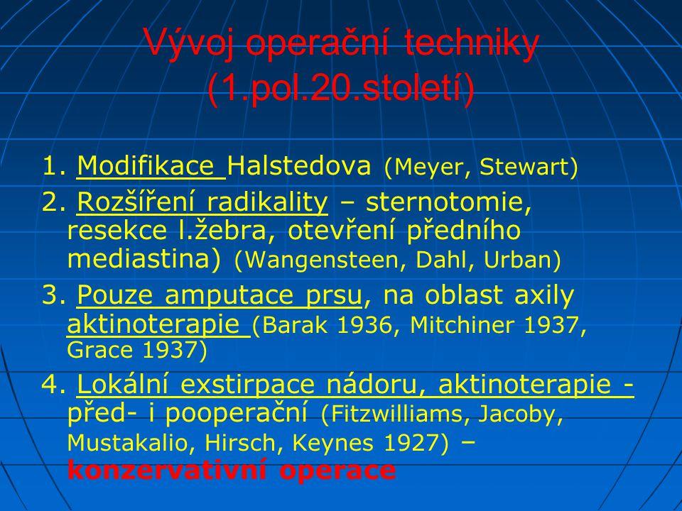 Vývoj operační techniky (1.pol.20.století) 1. Modifikace Halstedova (Meyer, Stewart) 2. Rozšíření radikality – sternotomie, resekce l.žebra, otevření