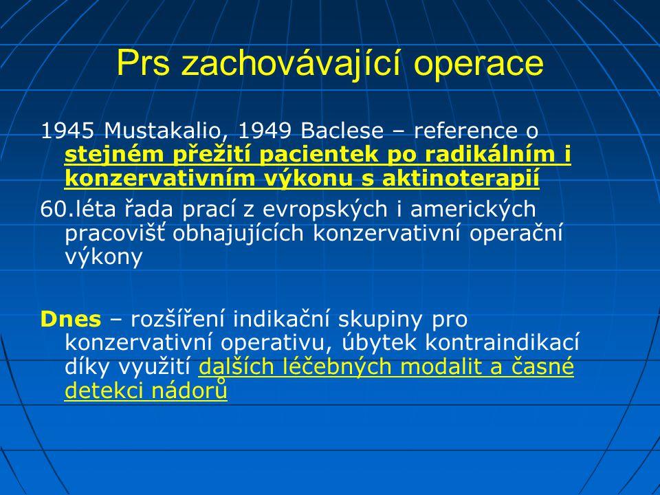Prs zachovávající operace 1945 Mustakalio, 1949 Baclese – reference o stejném přežití pacientek po radikálním i konzervativním výkonu s aktinoterapií