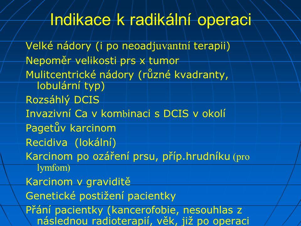 Indikace k radikální operaci Velké nádory (i po neoadj uvantní terapii) Nepoměr velikosti prs x tumor Mulitcentrické nádory (různé kvadranty, lobulární typ) Rozsáhlý DCIS Invazivní Ca v kom b inaci s DCIS v okolí Pagetův karcinom Recidiva (lokální) Karcinom po ozáření prsu, příp.hrudníku (pro lymfom) Karcinom v graviditě Genetické postižení pacientky Přání pacientky (kancerofobie, nesouhlas z následnou radioterapií, věk, již po operaci kontralaterální strany)