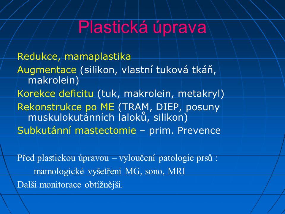 Plastická úprava Redukce, mamaplastika Augmentace (silikon, vlastní tuková tkáň, makrolein) Korekce deficitu (tuk, makrolein, metakryl) Rekonstrukce p