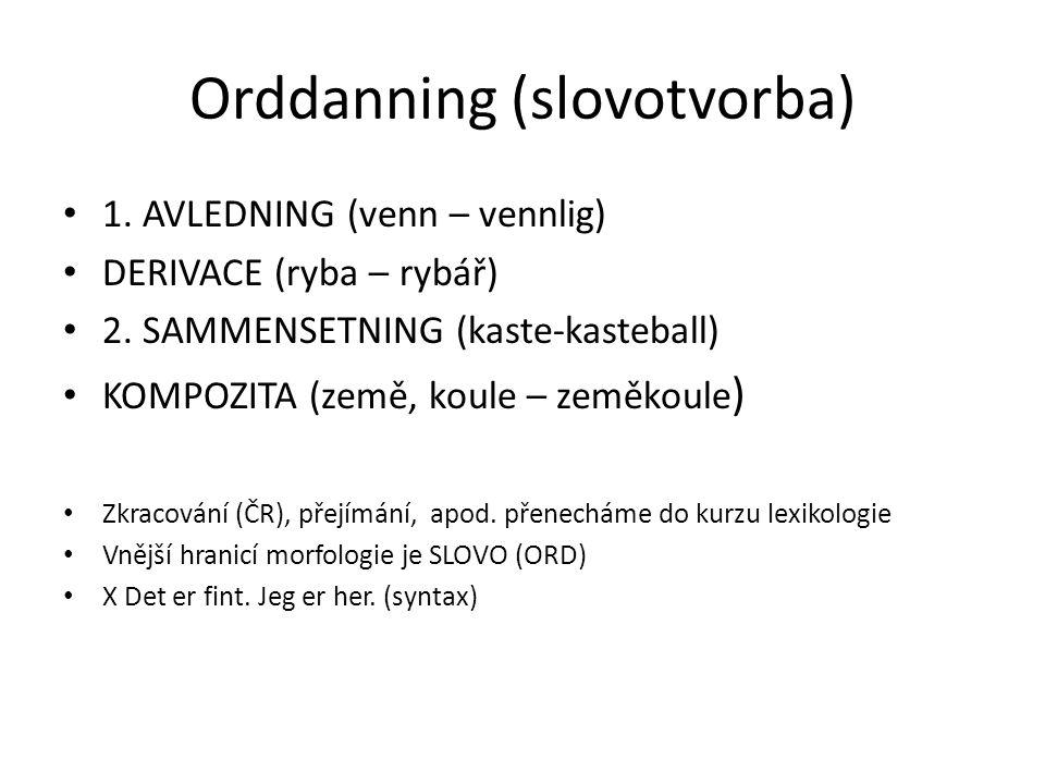 Orddanning (slovotvorba) 1. AVLEDNING (venn – vennlig) DERIVACE (ryba – rybář) 2.