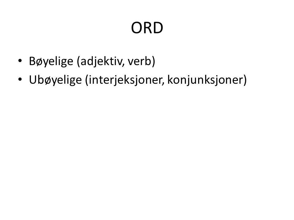 ORDKLASSER Åpne - kan oppstå nye (substantiv, verb) Lukkede – ingen nye (preposisjoner)