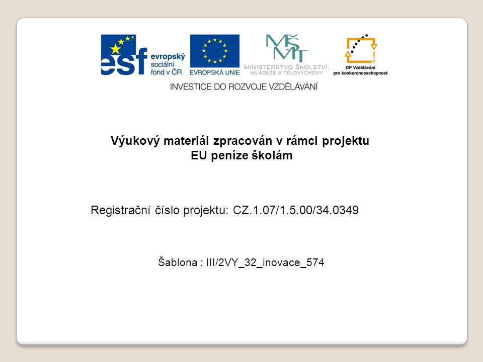 Výukový materiál zpracován v rámci projektu EU peníze školám Šablona : III/2VY_32_inovace_574 Registrační číslo projektu: CZ.1.07/1.5.00/34.0349