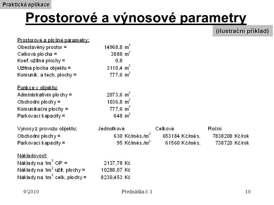 9/2010Přednáška č. 110 Prostorové a výnosové parametry (ilustrační příklad) Praktická aplikace