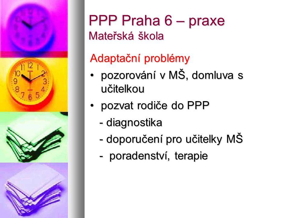 PPP Praha 6 – praxe Mateřská škola Školní zralost Screening (Jiráskův test), pozorování v MŠ, domluva s učitelkouScreening (Jiráskův test), pozorování v MŠ, domluva s učitelkou Vyšetření v PPP (+ rodiče)Vyšetření v PPP (+ rodiče) - Jiráskův test školní zralosti - Jiráskův test školní zralosti - Verbální test orientovanosti a slovního myšlení - Verbální test orientovanosti a slovního myšlení - zrakové, sluchové vnímání - zrakové, sluchové vnímání - intelektové předpoklady (Wechsler) - intelektové předpoklady (Wechsler) Spolupráce s pediatremSpolupráce s pediatrem Odklad školní docházky – 15-20 % dětíOdklad školní docházky – 15-20 % dětí Stimulační programy pro děti s odkladem (2-3 děti)Stimulační programy pro děti s odkladem (2-3 děti) Přípravky při ZŠ Vokovická (i pro praktické školy)Přípravky při ZŠ Vokovická (i pro praktické školy)