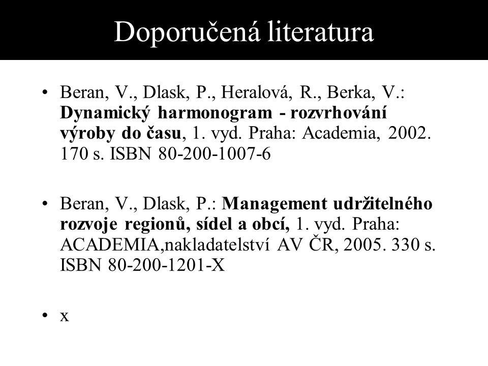 Doporučená literatura Beran, V., Dlask, P., Heralová, R., Berka, V.: Dynamický harmonogram - rozvrhování výroby do času, 1.