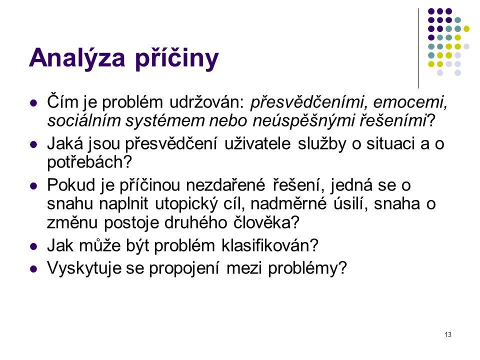 13 Analýza příčiny Čím je problém udržován: přesvědčeními, emocemi, sociálním systémem nebo neúspěšnými řešeními? Jaká jsou přesvědčení uživatele služ