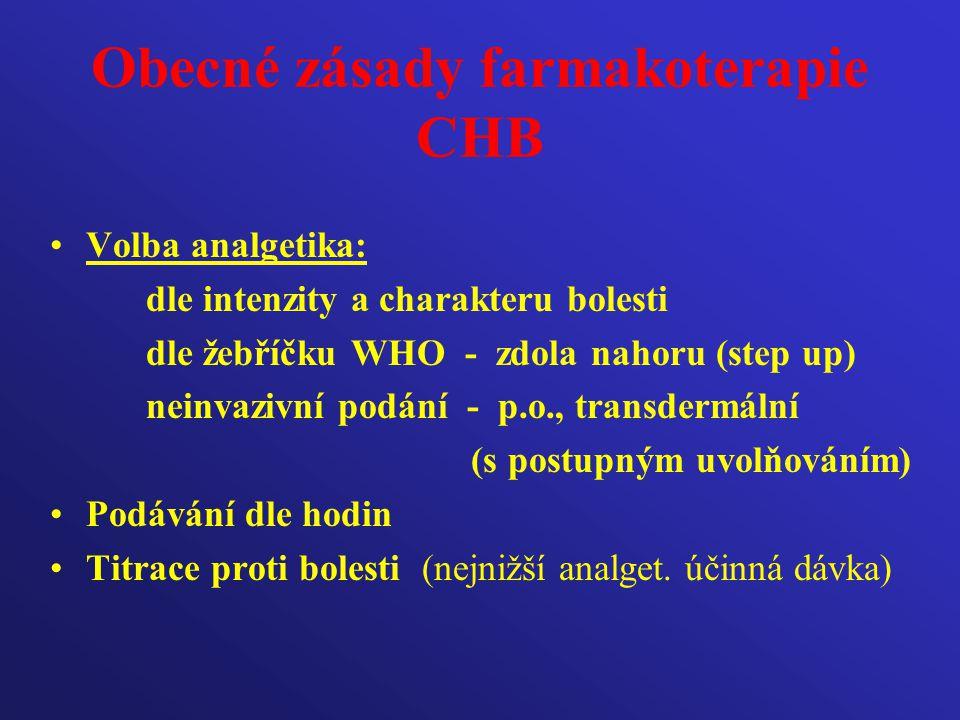 Obecné zásady farmakoterapie CHB Volba analgetika: dle intenzity a charakteru bolesti dle žebříčku WHO - zdola nahoru (step up) neinvazivní podání - p
