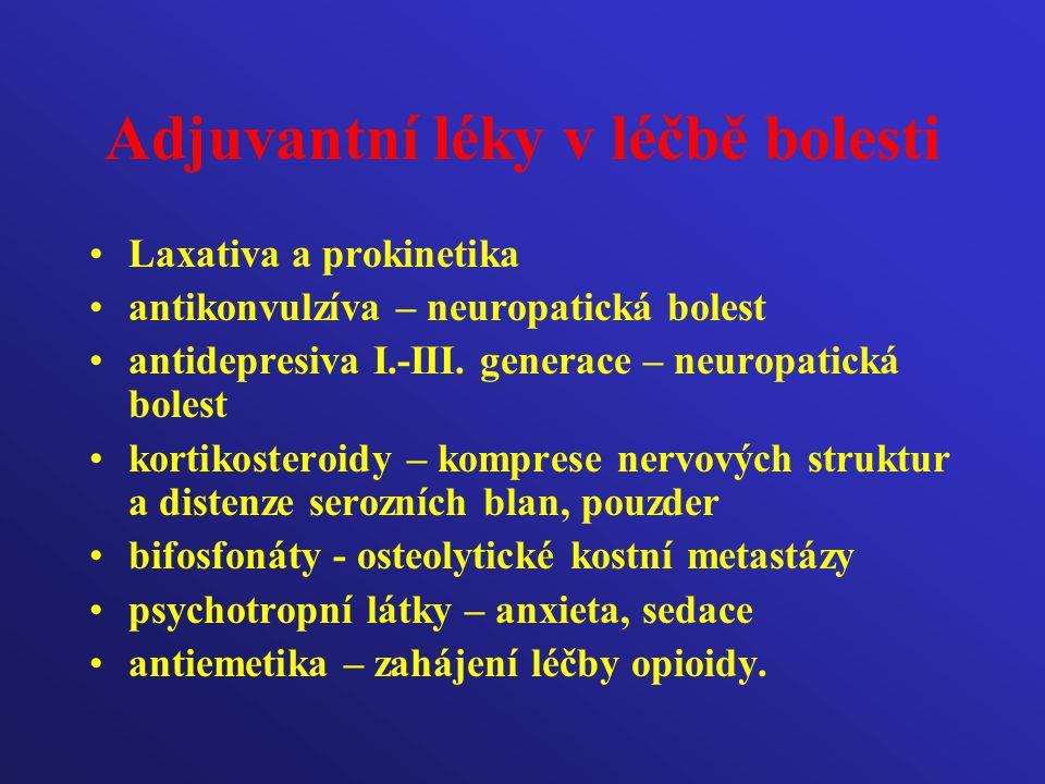 Adjuvantní léky v léčbě bolesti Laxativa a prokinetika antikonvulzíva – neuropatická bolest antidepresiva I.-III. generace – neuropatická bolest korti