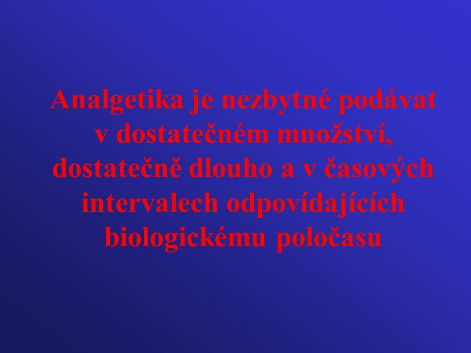 Analgetika je nezbytné podávat v dostatečném množství, dostatečně dlouho a v časových intervalech odpovídajících biologickému poločasu