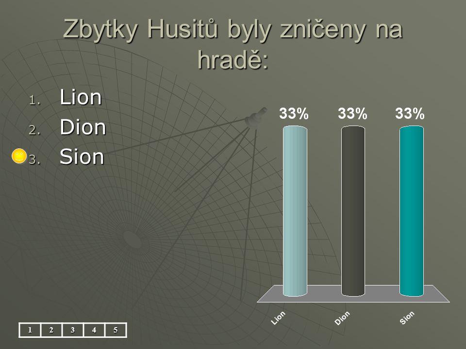 Zbytky Husitů byly zničeny na hradě: 12345 1. Lion 2. Dion 3. Sion