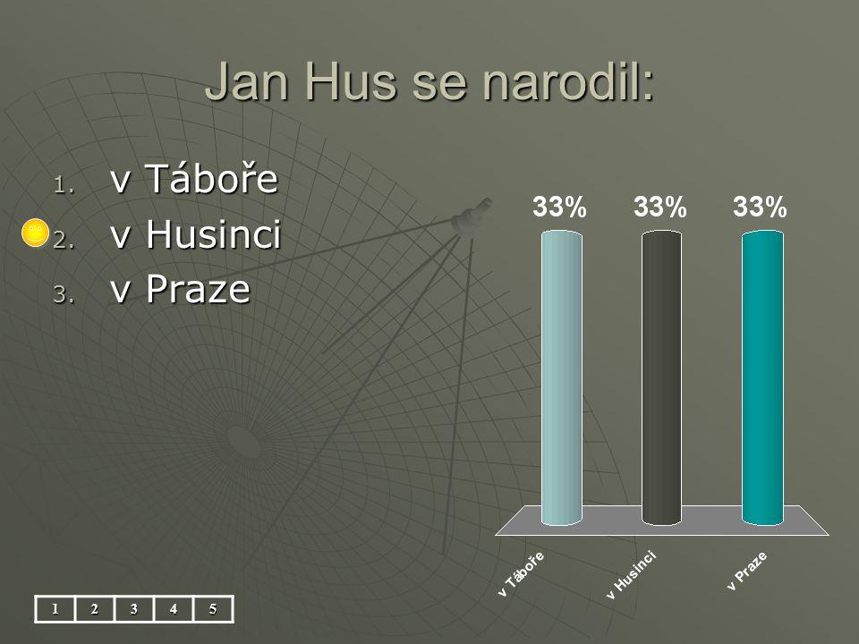 Jan Hus se narodil: 12345 1. v Táboře 2. v Husinci 3. v Praze