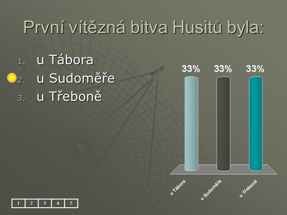 První vítězná bitva Husitů byla: 12345 1. u Tábora 2. u Sudoměře 3. u Třeboně