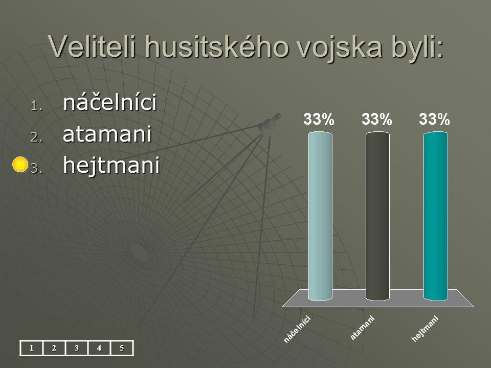 Veliteli husitského vojska byli: 12345 1. náčelníci 2. atamani 3. hejtmani