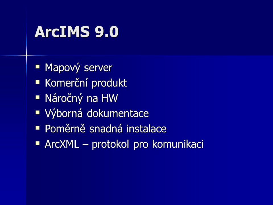 ArcIMS 9.0  Mapový server  Komerční produkt  Náročný na HW  Výborná dokumentace  Poměrně snadná instalace  ArcXML – protokol pro komunikaci