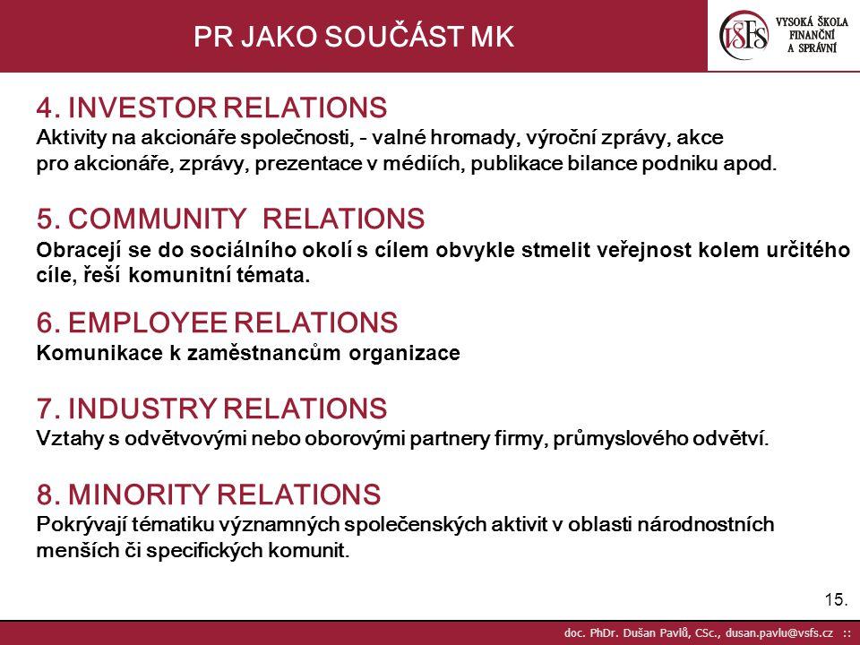 15. doc. PhDr. Dušan Pavlů, CSc., dusan.pavlu@vsfs.cz :: PR JAKO SOUČÁST MK 4. INVESTOR RELATIONS Aktivity na akcionáře společnosti, - valné hromady,