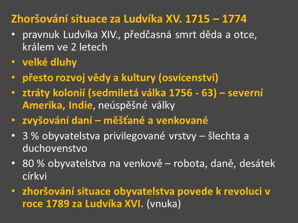 Zhoršování situace za Ludvíka XV. 1715 – 1774 pravnuk Ludvíka XIV., předčasná smrt děda a otce, králem ve 2 letech velké dluhy přesto rozvoj vědy a ku