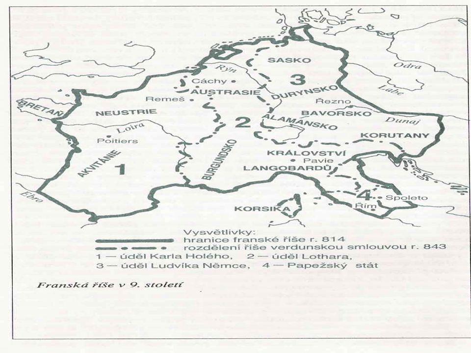 Klíčové pojmy Území říše Kultura Verdunská smlouva Karolinská renesance Bitva u Poitiers Bitva u Wogastisburku Král Chlodvík Dagobert Karel Martel Karel I.