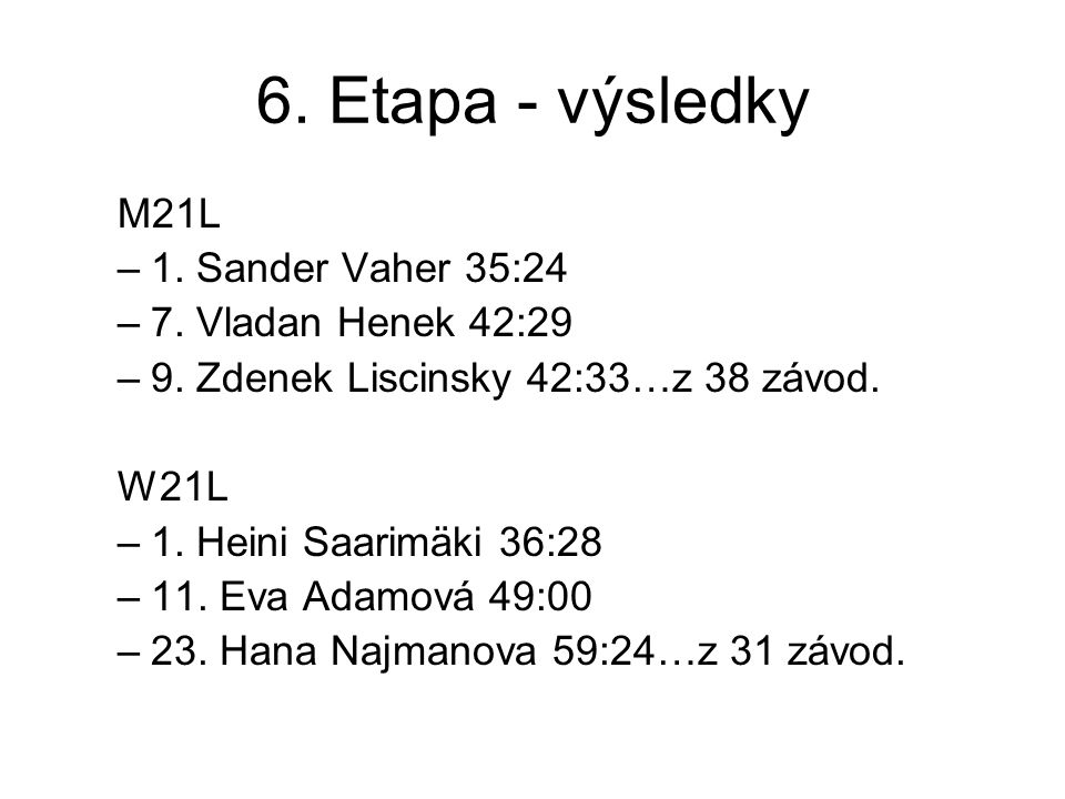 6. Etapa - výsledky M21L –1. Sander Vaher 35:24 –7.