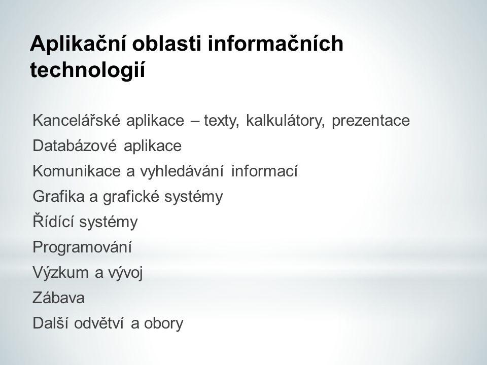 Aplikační oblasti informačních technologií Kancelářské aplikace – texty, kalkulátory, prezentace Databázové aplikace Komunikace a vyhledávání informac