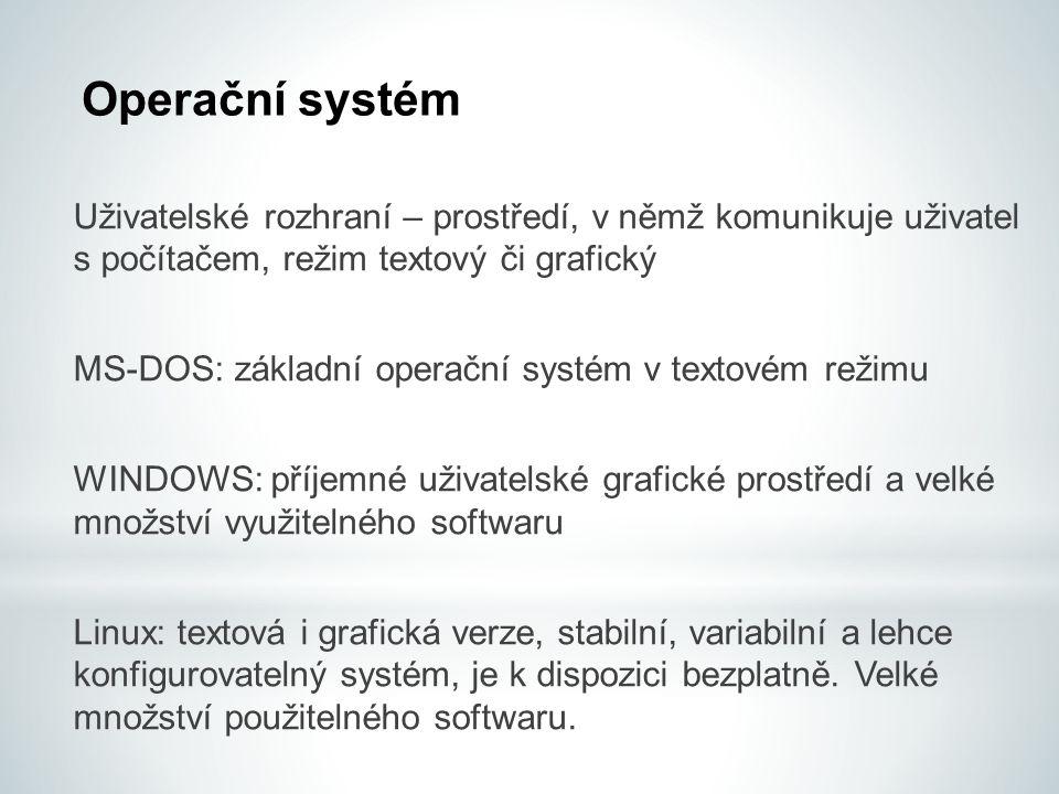 Uživatelské rozhraní – prostředí, v němž komunikuje uživatel s počítačem, režim textový či grafický MS-DOS: základní operační systém v textovém režimu