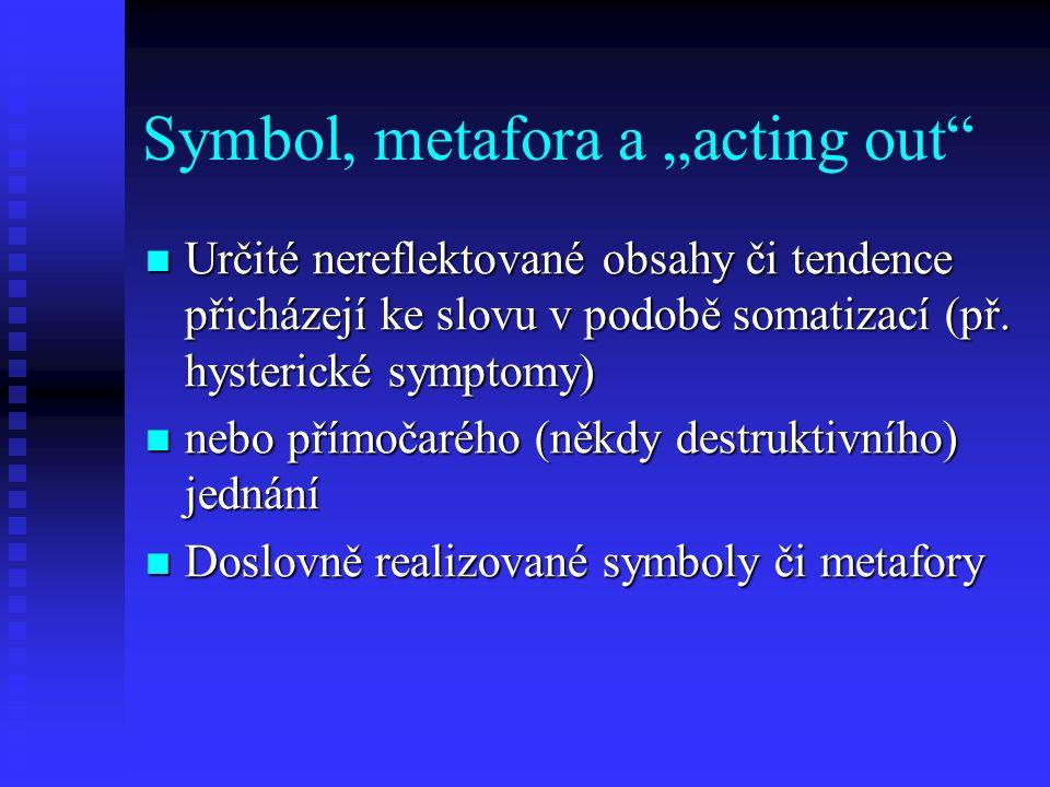 """Symbol, metafora a """"acting out"""" Určité nereflektované obsahy či tendence přicházejí ke slovu v podobě somatizací (př. hysterické symptomy) Určité nere"""