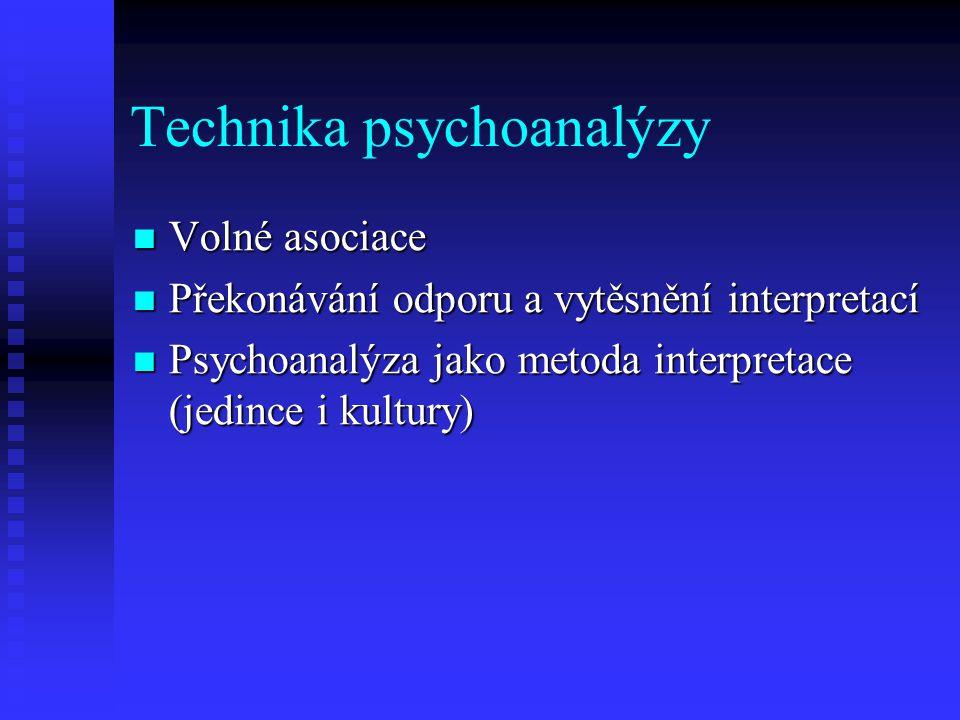 Technika psychoanalýzy Volné asociace Volné asociace Překonávání odporu a vytěsnění interpretací Překonávání odporu a vytěsnění interpretací Psychoana