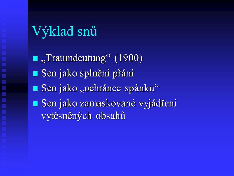 """Výklad snů """"Traumdeutung"""" (1900) """"Traumdeutung"""" (1900) Sen jako splnění přání Sen jako splnění přání Sen jako """"ochránce spánku"""" Sen jako """"ochránce spá"""