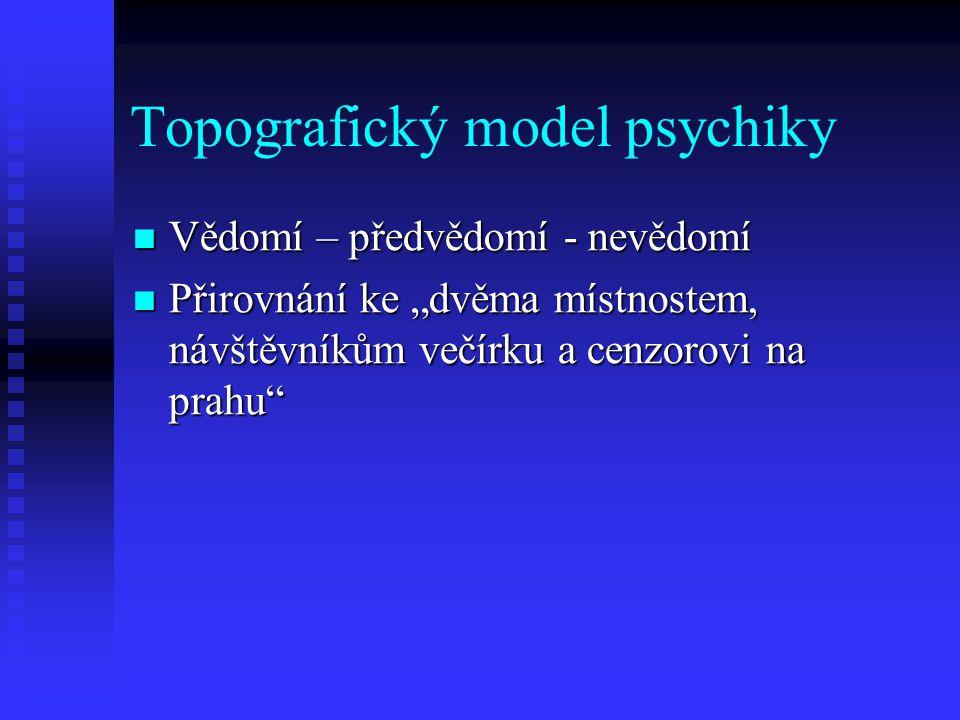 """Topografický model psychiky Vědomí – předvědomí - nevědomí Vědomí – předvědomí - nevědomí Přirovnání ke """"dvěma místnostem, návštěvníkům večírku a cenz"""