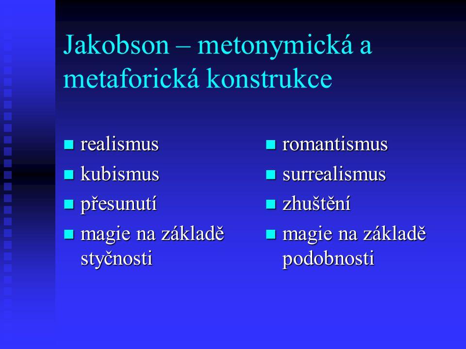 Jakobson – metonymická a metaforická konstrukce realismus realismus kubismus kubismus přesunutí přesunutí magie na základě styčnosti magie na základě
