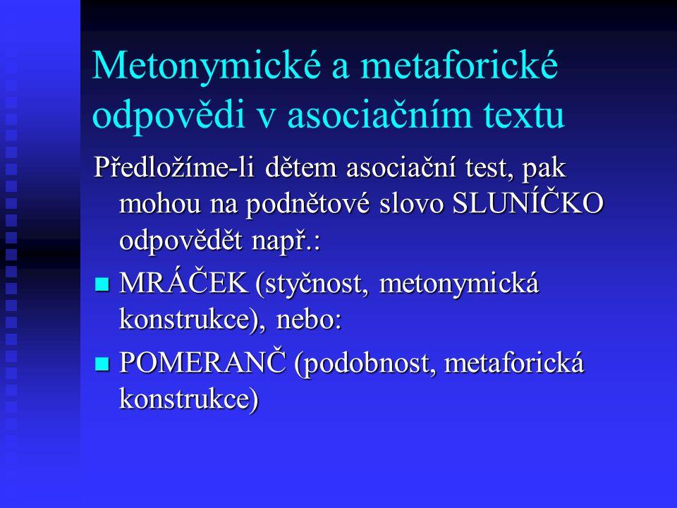 Metonymické a metaforické odpovědi v asociačním textu Předložíme-li dětem asociační test, pak mohou na podnětové slovo SLUNÍČKO odpovědět např.: MRÁČE