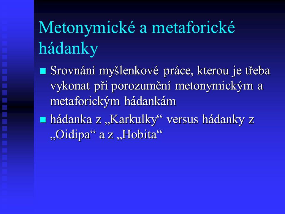Metonymické a metaforické hádanky Srovnání myšlenkové práce, kterou je třeba vykonat při porozumění metonymickým a metaforickým hádankám Srovnání myšl