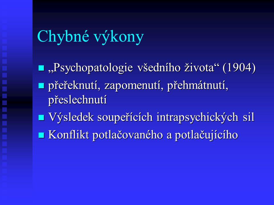 """Chybné výkony """"Psychopatologie všedního života"""" (1904) """"Psychopatologie všedního života"""" (1904) přeřeknutí, zapomenutí, přehmátnutí, přeslechnutí přeř"""