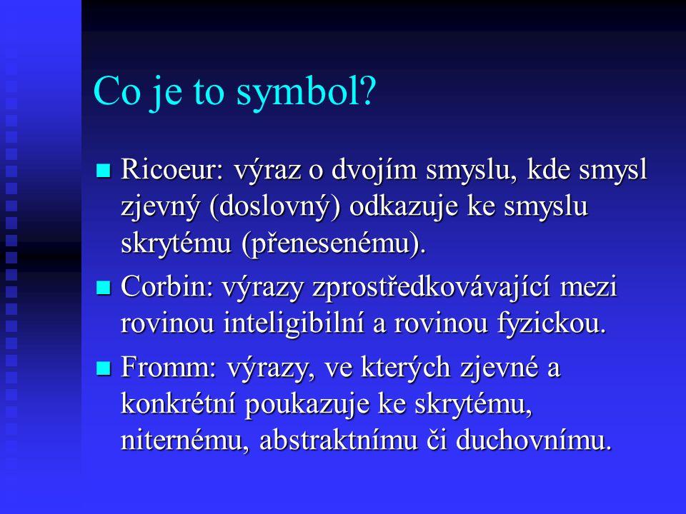 Co je to symbol? Ricoeur: výraz o dvojím smyslu, kde smysl zjevný (doslovný) odkazuje ke smyslu skrytému (přenesenému). Ricoeur: výraz o dvojím smyslu