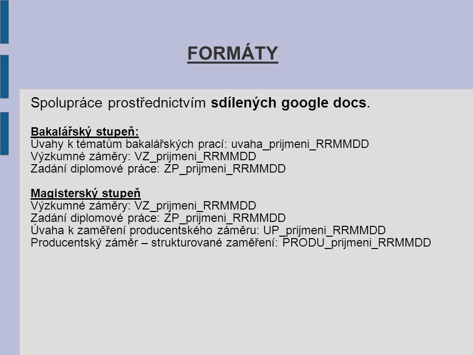FORMÁTY Spolupráce prostřednictvím sdílených google docs. Bakalářský stupeň: Úvahy k tématům bakalářských prací: uvaha_prijmeni_RRMMDD Výzkumné záměry