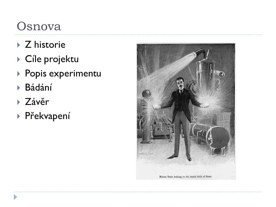 Osnova  Z historie  Cíle projektu  Popis experimentu  Bádání  Závěr  Překvapení