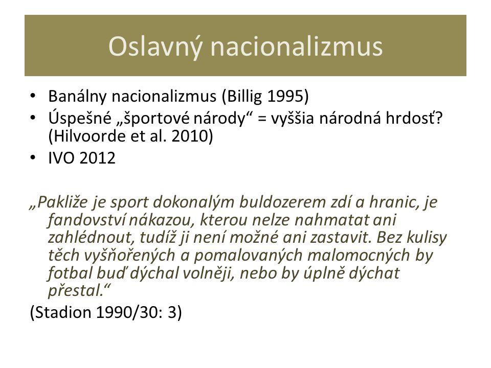"""Oslavný nacionalizmus Banálny nacionalizmus (Billig 1995) Úspešné """"športové národy"""" = vyššia národná hrdosť? (Hilvoorde et al. 2010) IVO 2012 """"Pakliže"""