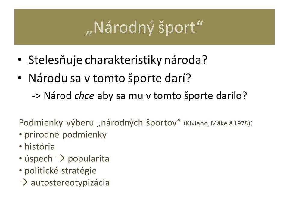 """""""Národný šport"""" Stelesňuje charakteristiky národa? Národu sa v tomto športe darí? -> Národ chce aby sa mu v tomto športe darilo? Podmienky výberu """"nár"""