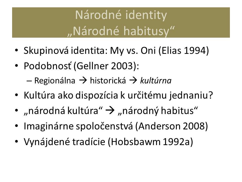 """Národné identity """"Národné habitusy"""" Skupinová identita: My vs. Oni (Elias 1994) Podobnosť (Gellner 2003): – Regionálna  historická  kultúrna Kultúra"""
