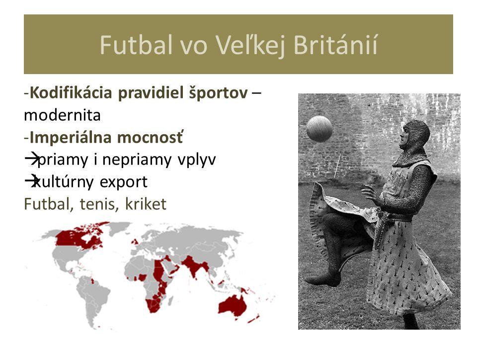 Futbal vo Veľkej Británií -Kodifikácia pravidiel športov – modernita -Imperiálna mocnosť  priamy i nepriamy vplyv  kultúrny export Futbal, tenis, kr