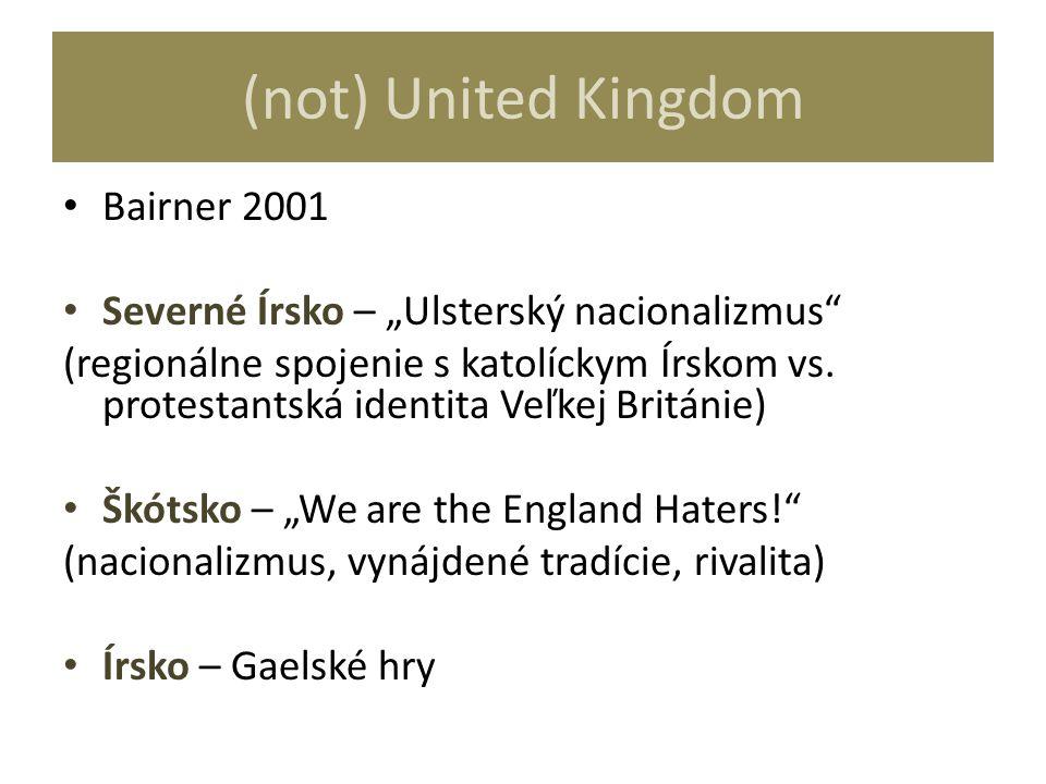 """(not) United Kingdom Bairner 2001 Severné Írsko – """"Ulsterský nacionalizmus"""" (regionálne spojenie s katolíckym Írskom vs. protestantská identita Veľkej"""