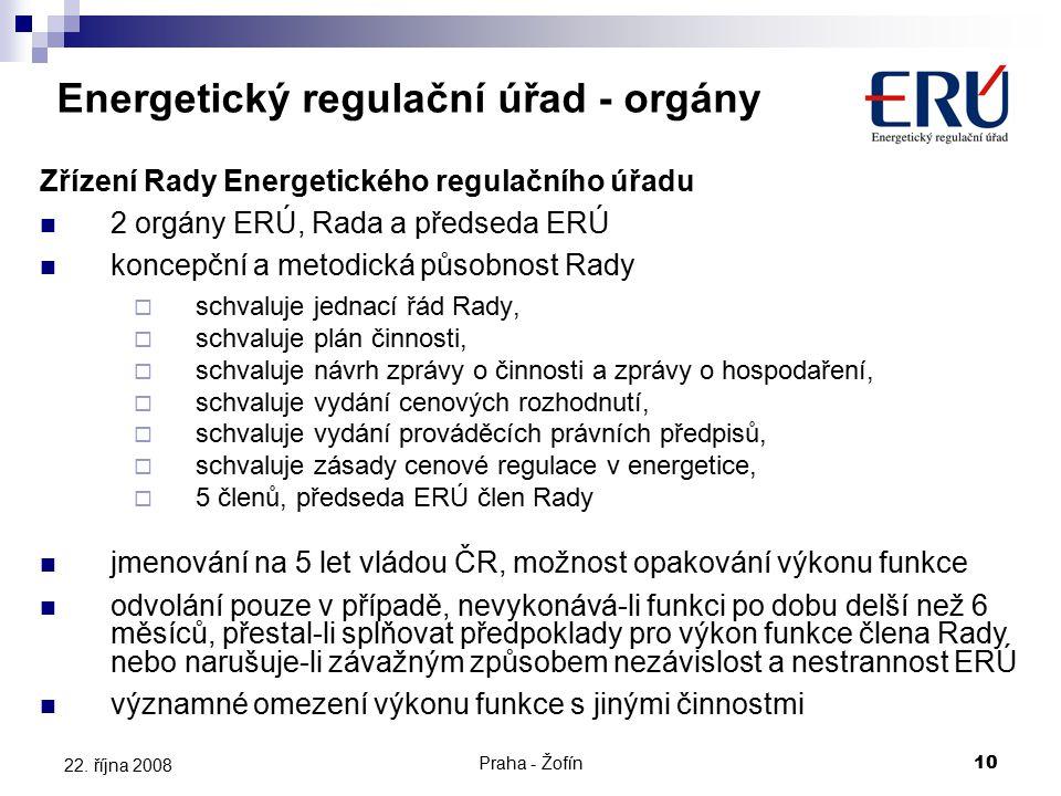 Praha - Žofín10 22. října 2008 Zřízení Rady Energetického regulačního úřadu 2 orgány ERÚ, Rada a předseda ERÚ koncepční a metodická působnost Rady  s