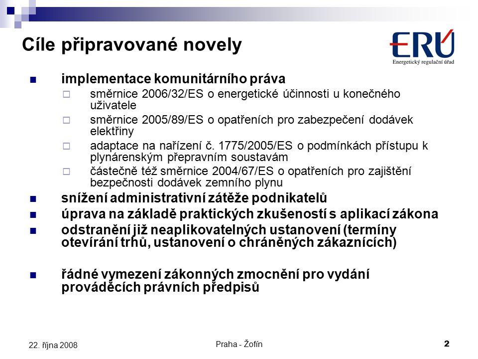 Praha - Žofín2 22. října 2008 implementace komunitárního práva  směrnice 2006/32/ES o energetické účinnosti u konečného uživatele  směrnice 2005/89/