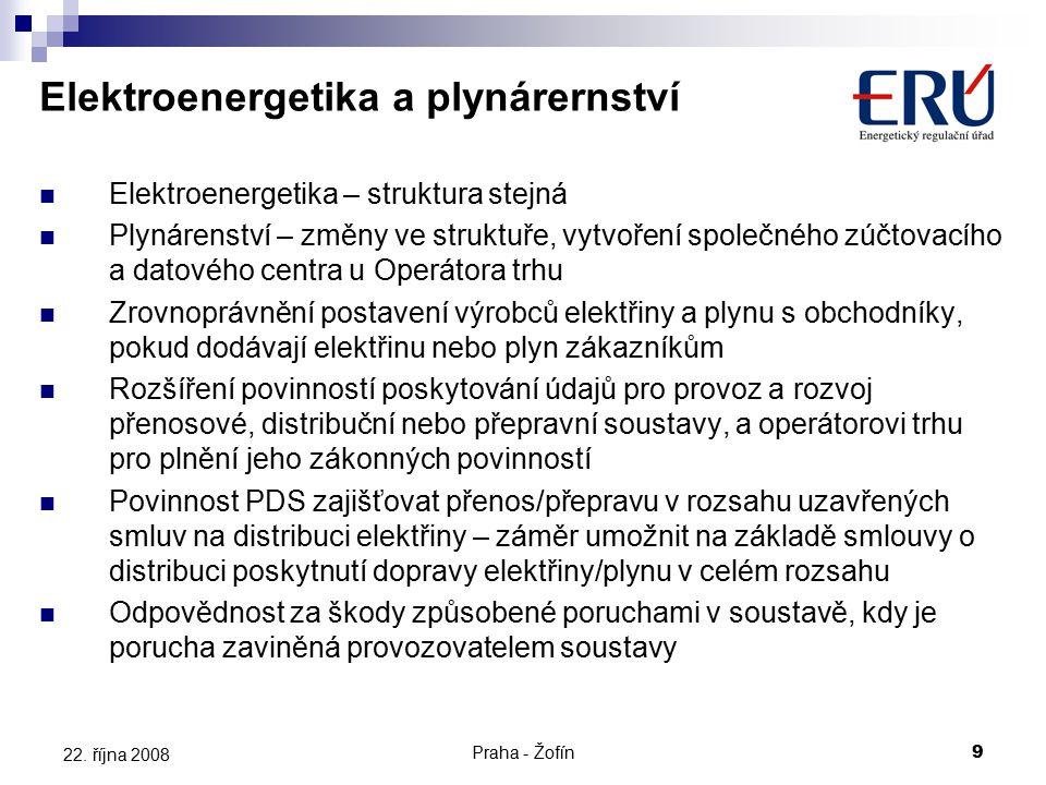 Praha - Žofín9 22. října 2008 Elektroenergetika – struktura stejná Plynárenství – změny ve struktuře, vytvoření společného zúčtovacího a datového cent