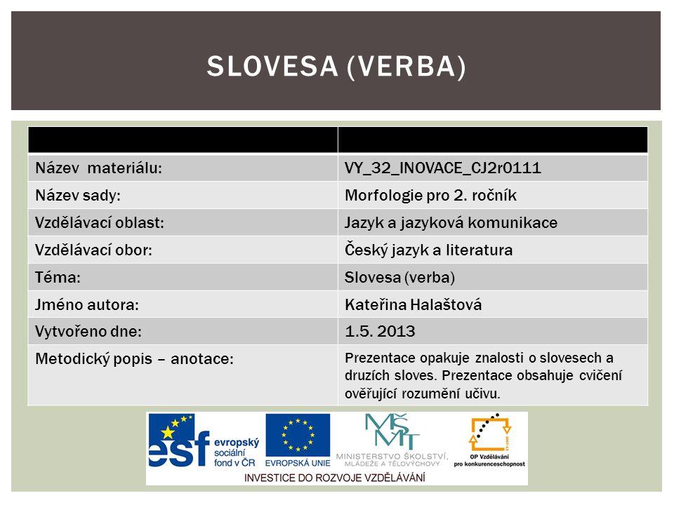 Název materiálu:VY_32_INOVACE_CJ2r0111 Název sady:Morfologie pro 2.
